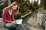 0610-01 BYU General Campus Scenics..GCS..Student studying in Museum of Art garden (MOA)..October 2, 2006..Photography by Jaren Wilkey/BYU..Copyright BYU Photo 2006.All Rights Reserved.photo@byu.edu   (801)422-7322