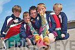Culture shock: Conor Galvin, Ian Roche, Keane Mahoney, Sheldon Neill and Feidhlim Roberts, 3rd class pupils taking part in the KDYS/KADE Multicultural Day at Scoil Realta na Maidne on Tuesday.   Copyright Kerry's Eye 2008