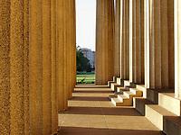 Early morning light shining on Parthenon entrance. Nashville, TN.