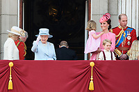 Camilla, Duchess of Cornwall; Prince Charles, Prince of Wales; HM Queen Elizabeth II; Catherine, Duchess of Cambridge; Princess Charlotte; Prince George &amp; Prince William, Duke of Cambridge on the balcony of Buckingham Palace following the Trooping of the Colour Ceremony celebrating the Queen's official birthday. London, UK. <br /> 17 June  2017<br /> Picture: Steve Vas/Featureflash/SilverHub 0208 004 5359 sales@silverhubmedia.com
