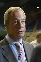"""8/24/16 Jackson,MS. Mr Brexit Nigel Farage speaks at the Donal J. Trump for President rally in Jackson Mississippi. Trump spoke to a full house of mostly white supporters and called Hillary Clinton a """"bigot"""" during his speech. While in Jackson Trump also made time to squeezed in a very private $1,000 dollar  per person fundraiser. It was so private you did not get the address for the location until the campaign received your donation. Photo © Suzi Altman"""