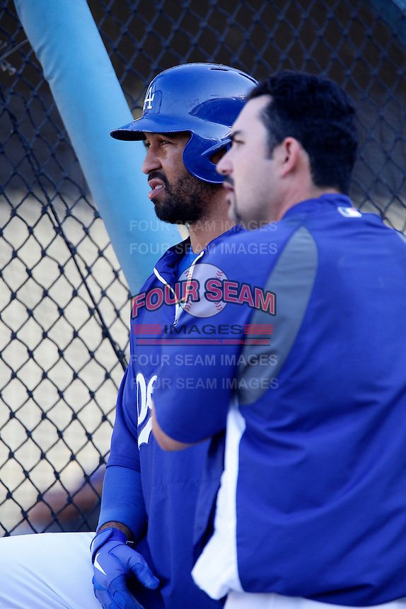 Matt Kemp #27 and Adrian Gonzalez #23 of the Los Angeles Dodgers before a game against the St.Louis Cardinals at Dodger Stadium on September 13, 2012 in Los Angeles, California. St.Louis defeated Los Angeles 2-1. (Larry Goren/Four Seam Images)