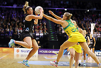 18.10.2018 Silver Ferns Gina Crampton and Australia's Courtney Bruce in action during the Silver Ferns v Australia netball test match at the TSB Arena in Wellington. Mandatory Photo Credit ©Michael Bradley.