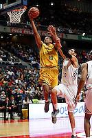 30/03/2014<br /> LIGA ENDESA<br /> JORNADA 25<br /> Real Madrid - Herbalife Gran Canaria<br /> 13 E.BAEZ Ala-Pivot (Herbalife Gran Canaria)<br /> 50 SALAH MEJRI Pivot (REAL MADRID)