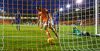 Blackpool's Nathan Delfouneso gathers the ball after Portsmouth's Oliver Hawkins scored an own goal to make the score 2-2<br /> <br /> Photographer Alex Dodd/CameraSport<br /> <br /> The EFL Sky Bet League One - Blackpool v Portsmouth - Saturday 11th November 2017 - Bloomfield Road - Blackpool<br /> <br /> World Copyright &copy; 2017 CameraSport. All rights reserved. 43 Linden Ave. Countesthorpe. Leicester. England. LE8 5PG - Tel: +44 (0) 116 277 4147 - admin@camerasport.com - www.camerasport.com