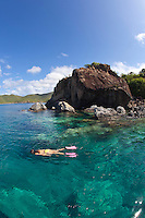 Natalie Klein snorkeling at Lameshure Bay<br />