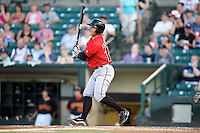 Indianapolis Indians designated hitter Jeff Clement #14 at bat during a game against the Empire State Yankees at Frontier Field on August 4, 2012 in Rochester, New York.  Empire State defeated Indianapolis 9-8 in ten innings.  (Mike Janes/Four Seam Images)
