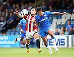 Gillingham's Josh Pask tussles with Sheffield United's Billy Sharp during the League One match at the Priestfield Stadium, Gillingham. Picture date: September 4th, 2016. Pic David Klein/Sportimage