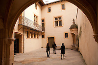 Courtyard of the Maison du Chamarier off Rue Saine-Jean, Vieux Lyon, France, 14 January 2012