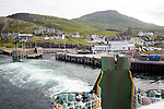 Ship's wake in water ferry leaving Castlebay, Barra, Outer Hebrides, Scotland, UK