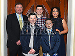 Evan O'Reilly who was confirmed in the Church of the Immaculate Conception Termonfeckin pictured with parents Alan and Jennifer and brothers Morgan and Tadhg. Photo:Colin Bell/pressphotos.ie