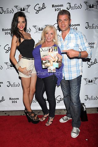 Samara Martins, Linda Torres and Tom Murro attend Inked Magazine release party celebrating August issue, New York. July 17, 2012 © Diego Corredor/MediaPunch Inc.