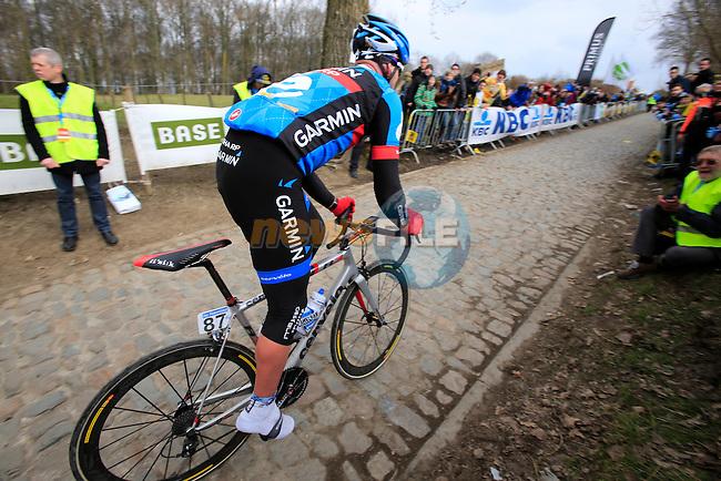 Sebastien Rosseler (Garmin Sharp) climbs Koppenberg during the 2013 Tour of Flanders, Belgium, Sunday 31st  March 2013 (Photo by Eoin Clarke 2013)