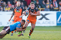 Picture by Allan McKenzie/SWpix.com - 11/03/2018 - Rugby League - Betfred Super League - Castleford Tigers v Salford Red Devils - the Mend A Hose Jungle, Castleford, England - Castleford's Adam Milner is tackled by Salford's Ben Nakubuwai.
