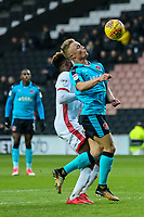 Fleetwood Town's Kyle Dempsey gets the ball under control<br /> <br /> Photographer Andrew Kearns/CameraSport<br /> <br /> The EFL Sky Bet League One - Milton Keynes Dons v Fleetwood Town - Saturday 11th November 2017 - Stadium MK - Milton Keynes<br /> <br /> World Copyright &copy; 2017 CameraSport. All rights reserved. 43 Linden Ave. Countesthorpe. Leicester. England. LE8 5PG - Tel: +44 (0) 116 277 4147 - admin@camerasport.com - www.camerasport.com