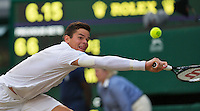 England, London, 28.06.2014. Tennis, Wimbledon, AELTC, Men's semifinal Roger Federer (SUI) and Milos Raonic (CAN), Pictured: Milos Raonic<br /> Photo: Tennisimages/Henk Koster