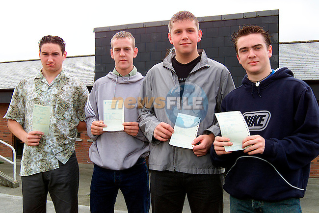 Austin Byrne, Trinity Gardens, Alan Sharkey, Clogherhead, barry sharkey, Clogherhead and Karl Kelly, Tinure after receiving thier Leaving Cert results from St. Joseph's CBS..Picture: Paul Mohan/Newsfile