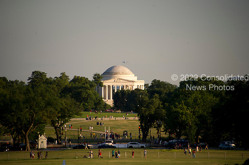 Very high resolution photo of the Jefferson Memorial, with an airliner taking off from Reagan National Airport to the right of the dome, in late summer evening light about an hour before sunset from the South Lawn of the White House in Washington, DC on Monday, June 26, 2017.<br /> Credit: Ron Sachs / CNP