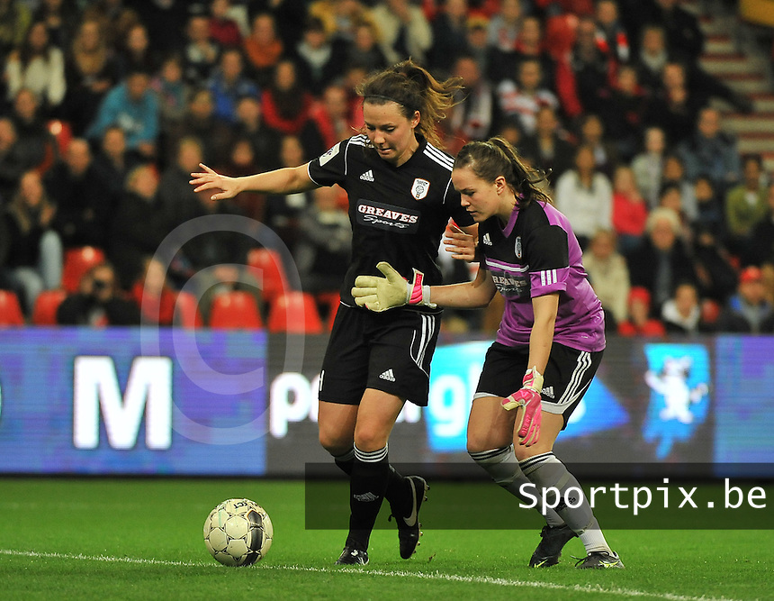 20131009 - LIEGE , BELGIUM : Glasgow Rachel Corsie (left) and Glasgow goalkeeper Lee Alexander pictured during the female soccer match between STANDARD Femina de Liege and  GLASGOW City LFC , in the 1/16 final ( round of 32 ) first leg in the UEFA Women's Champions League 2013 in stade maurice dufrasne - Sclessin in Liege. Wednesday 9 October 2013. PHOTO DAVID CATRY