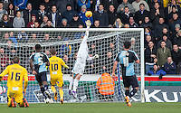 Goalkeeper Ryan Allsop of Wycombe Wanderers pulls off a great save during the Sky Bet League 2 match between Wycombe Wanderers and Bristol Rovers at Adams Park, High Wycombe, England on 27 February 2016. Photo by Andy Rowland.