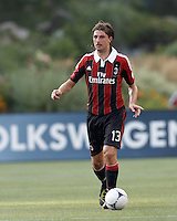 AC Milan defender Francesco Acerbi (13) looks to pass. In an international friendly, AC Milan defeated C.D. Olimpia, 3-1, at Gillette Stadium on August 4, 2012.