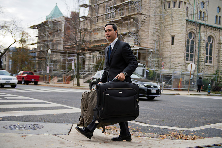 UNITED STATES - NOVEMBER 13:  Rep.-elect Joaquin Castro, D-Texas, arrives to the Capitol Hill Hotel in SE, where members-elect were checking in for new member orientation. (Photo By Tom Williams/CQ Roll Call)