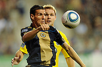 Sebastien Le Toux (9) of the Philadelphia Union plays the ball during a Major League Soccer (MLS) match against the Columbus Crew at PPL Park in Chester, PA, on August 05, 2010.