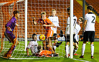 Blackpool's Owen Watkinson bundles the ball into the net to make the score 1-2<br /> <br /> Photographer Alex Dodd/CameraSport<br /> <br /> The FA Youth Cup Third Round - Blackpool U18 v Derby County U18 - Tuesday 4th December 2018 - Bloomfield Road - Blackpool<br />  <br /> World Copyright &copy; 2018 CameraSport. All rights reserved. 43 Linden Ave. Countesthorpe. Leicester. England. LE8 5PG - Tel: +44 (0) 116 277 4147 - admin@camerasport.com - www.camerasport.com