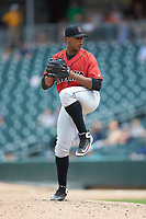 Indianapolis Indians relief pitcher Jesus Liranzo (48) in action against the Charlotte Knights at BB&T BallPark on August 22, 2018 in Charlotte, North Carolina.  The Indians defeated the Knights 6-4 in 11 innings.  (Brian Westerholt/Four Seam Images)