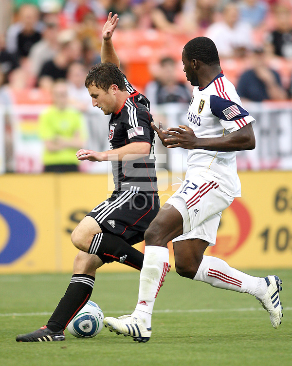 Stephen King #20 of D.C. United puts on the brakes in front of Jean Alexandre #12 of Real Salt Lake during an MLS match at RFK Stadium, on June 5 2010 in Washington DC. The game ended in a 0-0 tie.