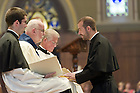 Aug. 25, 2012; Mr. Mark Francis DeMott, C.S.C. professes Final Vows to Rev. Thomas O'Hara, C.S.C., Provincial Superior...Photo by Matt Cashore/University of Notre Dame