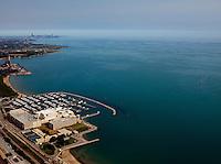 aerial photograph Horseshoe Hammond Casino, Hammond, Indiana toward Chicago skyline