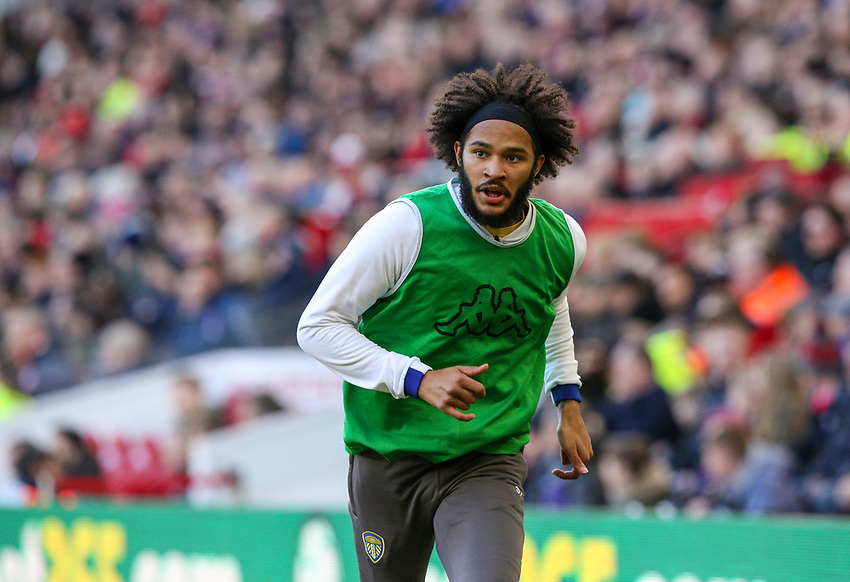 Leeds United's Izzy Brown warms up on the touchline<br /> <br /> Photographer Alex Dodd/CameraSport<br /> <br /> The EFL Sky Bet Championship - Middlesbrough v Leeds United - Saturday 9th February 2019 - Riverside Stadium - Middlesbrough<br /> <br /> World Copyright © 2019 CameraSport. All rights reserved. 43 Linden Ave. Countesthorpe. Leicester. England. LE8 5PG - Tel: +44 (0) 116 277 4147 - admin@camerasport.com - www.camerasport.com