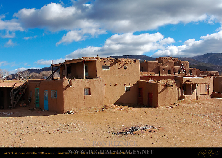 Adobe House and South House Hlaukwima, Northern Tiwa Indian, Taos Pueblo, Taos, New Mexico