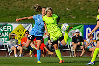 Piscataway, NJ - Sunday June 19, 2016: Jess Fishlock, Kelly Conheeney during a regular season National Women's Soccer League (NWSL) match between Sky Blue FC and Seattle Reign FC at Yurcak Field.