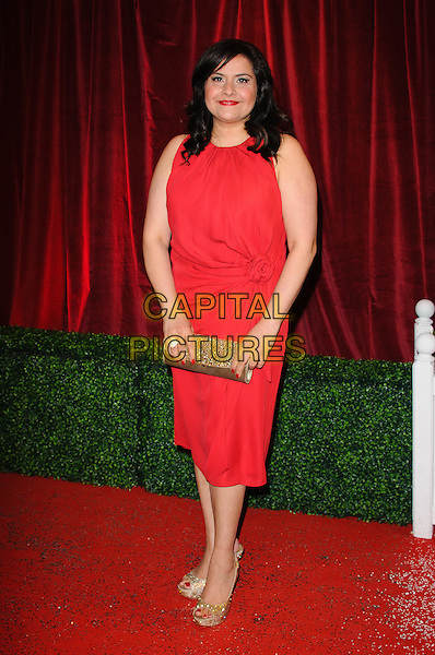 Nina Wadia.British Soap Awards 2012, The London Television Centre, London, England..28th April 2012.full length red sleeveless dress gold clutch bag.CAP/CJ.©Chris Joseph/Capital Pictures.