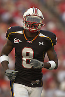 11 November 2006:  Maryland WR Darrius Heyward-Bey (8) caught 5 passes for 175 yards and 2 TDs, including a school record 96 yard TD catch.  The Maryland Terrapins defeated the University of Miami Hurricanes 14-13 November 11, 2006 at Chevy Chase Bank Field at Byrd Stadium in College Park, MD..