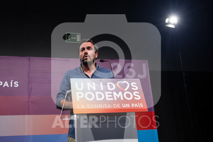 Spanish politician Alberto Garzon of Unidos Podemos party,during the press conference assessing the results of  the national elections of june 26 in Madrid, Spain. 26,06,2016. (ALTERPHOTOS/Rodrigo Jimenez)