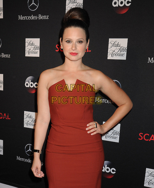 Katie Lowes <br /> At the Saks Fifth Avenue and ABC along with Mercedes-Benz celebration for the return of &quot;Scandal&quot; with a premiere party at Saks Fifth Avenue's New York Flagship Store in New York City, NY., USA.<br /> October 2nd, 2013 <br /> half length red strapless dress hand on hip<br /> CAP/MPI/mpi63<br /> &copy;mpi63/MediaPunch/Capital Pictures