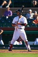 Scottsdale Scorpions second baseman Carlos Asuaje (3) at bat during an Arizona Fall League game against the Surprise Saguaros on October 22, 2015 at Scottsdale Stadium in Scottsdale, Arizona.  Surprise defeated Scottsdale 7-6.  (Mike Janes/Four Seam Images)