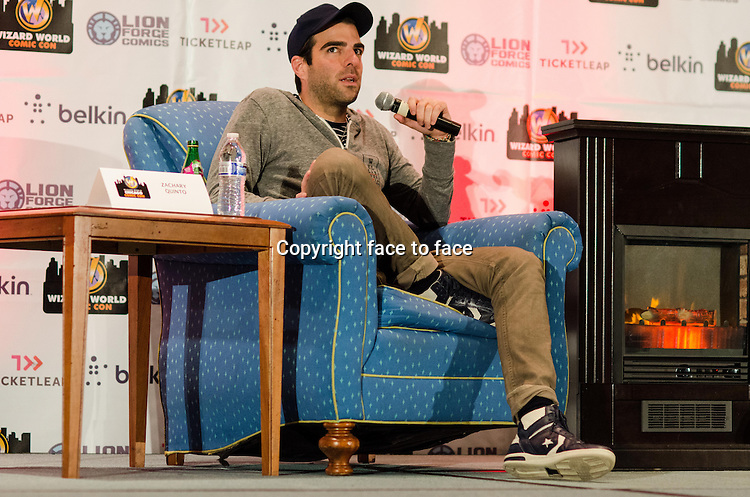 Zachary Quinto appears at Wizard World Chicago Comic Con in Rosemont, Illinois, 10.08.2013.<br /> Credit: MediaPunch/face to face<br /> - Germany, Austria, Switzerland, Eastern Europe, Australia, UK, USA, Taiwan, Singapore, China, Malaysia, Thailand, Sweden, Estonia, Latvia and Lithuania rights only -