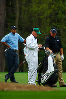 Masters Golf Tournament 2005, Augusta National Georgia, USA. Tiger Woods and his buddy Mark O'Meara on the 11th hole.<br /> <br /> Champion 2005 - Tiger Woods <br /> <br /> Note: There is no property release or model release available for this image.