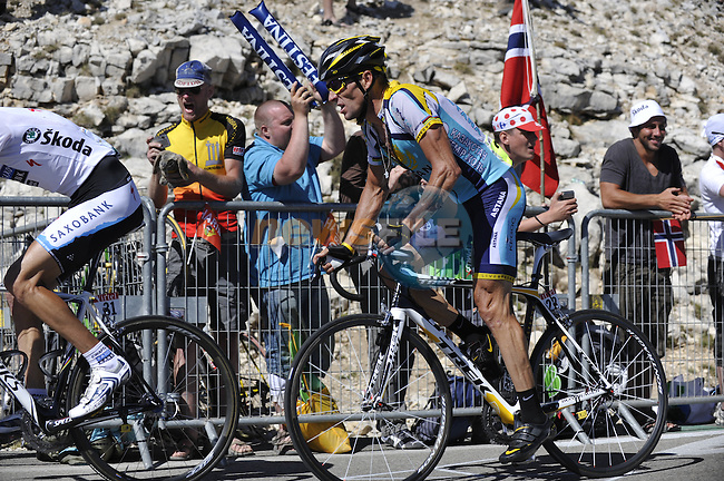 Andy Schleck (LUX) Saxo Bank leads Lance Armstrong (USA) Astana near the finish of the penultimate stage to the Mont Ventoux in the 2009 Tour de France, 25th July 2009 (Photo by Eoin Clarke/NEWSFILE)