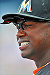 13 March 2012: Miami Marlins third baseman Hanley Ramirez in the dugout during a Spring Training game against the Atlanta Braves at Roger Dean Stadium in Jupiter, Florida. The two teams battled to a 2-2 tie playing 10 innings of Grapefruit League action. Mandatory Credit: Ed Wolfstein Photo
