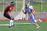 Palos Verdes, CA 11/10/10 - Jake Teren (Peninsula #85) and Brett Landon (Palos Verdes # 17) in action during the junior varsity football game between Peninsula and Palos Verdes at Palos Verdes High School.