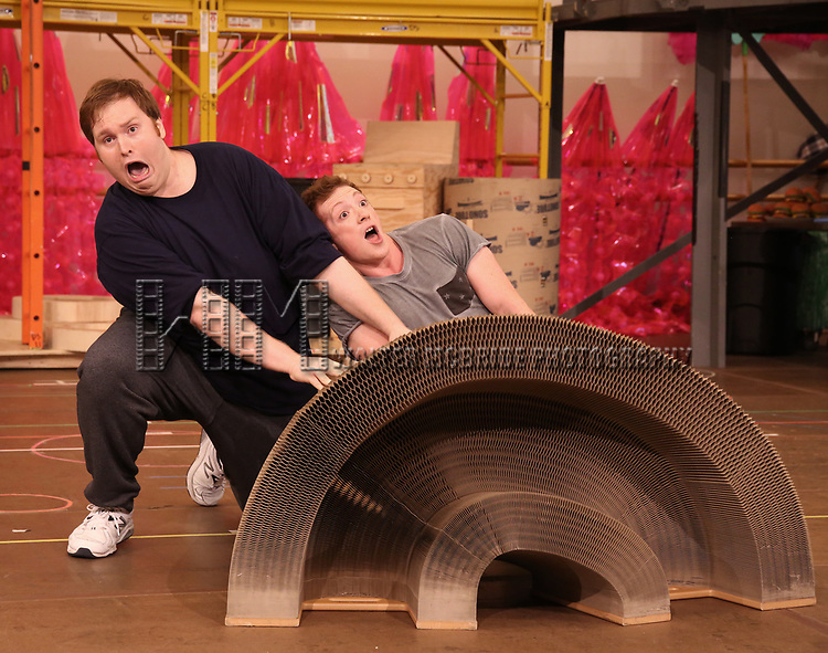 Danny Skinner and Ethan Slater during the Rehearsal Press Preview of the New Broadway  Musical on 'SpongeBob SquarePants'  on October 11, 2017 at the Duke 42nd Street Studios in New York City.
