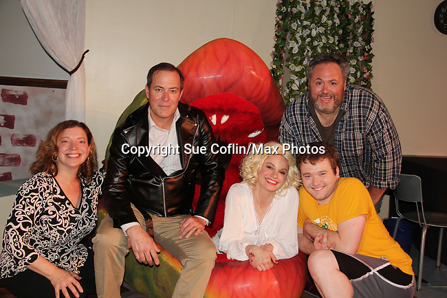 """Guiding Light's Mandy Bruno and Robert Bogue and Kelly Krieger and Sheri and Michael Melcher in Lilttle Shop of Horrors The Musical on May 27, 2018 presented by CaPAA at the Ritz Theater in Scranton, PA. Mandy is """"Audrey"""", Robert is """"Orian, Berstein, Luce, Snip, Martin"""" and Kelly is """"Seymour"""". Mandy is  also the director, set designer, video projection production, props and costumes. Also their children Zeb (15), Zoe (13) and Flynn (6) were at this show and many others. (Photo by Sue Coflin/Max Photo)"""