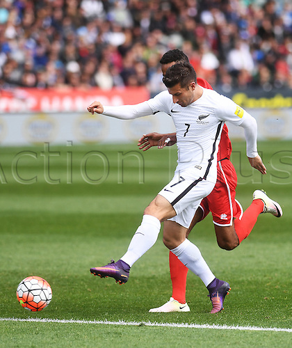 12.11.2016. Auckland, New Zealand.  Kosta Barbarouses takes a shot on goal. New Zealand All Whites versus New Caledonia. Oceania Football Confederation stage 3 qualifier match for the FIFA World Cup in Russia 2018. QBE Stadium, Auckland, New Zealand.