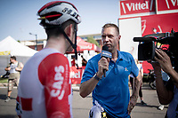 Tiesj Benoot (BEL/Lotto-Soudal) interviewed by Jens Voigt (working for the american NBC-Sports) at the finish line in Nîmes<br /> <br /> Stage 16: Nîmes to Nîmes (177km)<br /> 106th Tour de France 2019 (2.UWT)<br /> <br /> ©kramon