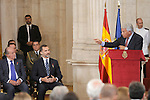 Former Spanish Prime Minister Felipe Gonzalez (r) in presence of King Felipe VI of Spain (c) and King Juan Carlos (l) during the 30th Anniversary of Spain being part of European Communities. June 24, 2015.(ALTERPHOTOS/Pool)